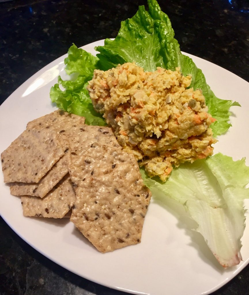 Chickpea Salad on romaine with gluten free crackers