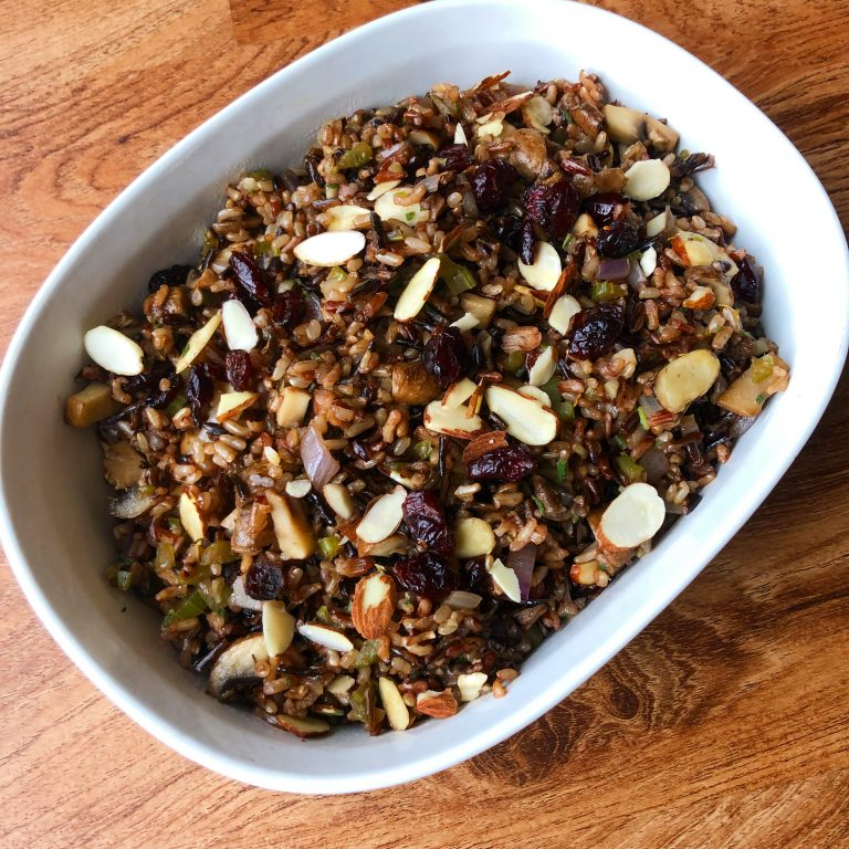Gluten Free Wild Rice Stuffing with Mushrooms, Celery, Almonds and Cranberries