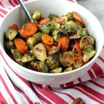 Brussels Sprouts and Carrots in White Bowl