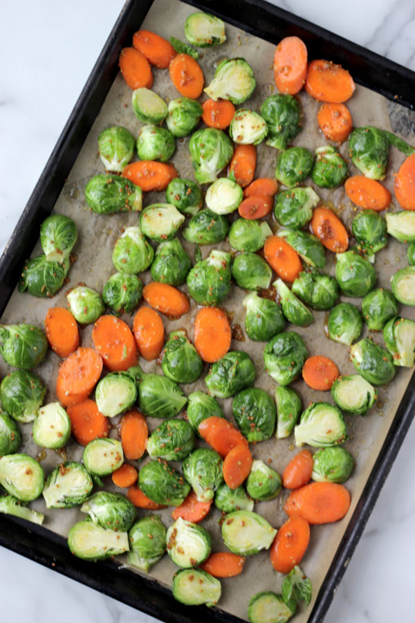 Brussels sprouts & carrots on sheet pan
