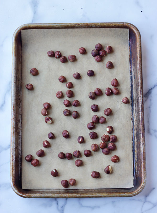 Hazelnuts on sheet pan