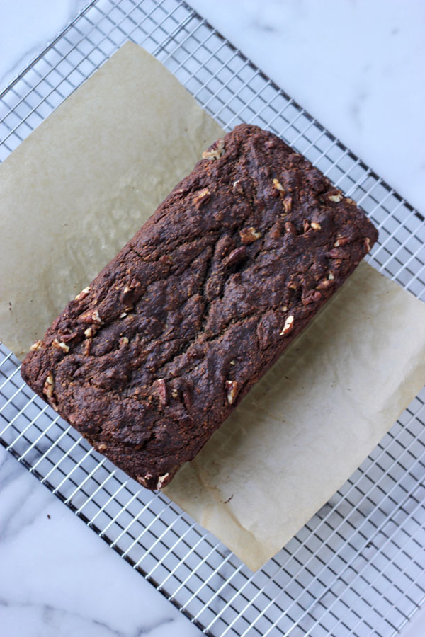 Banana bread on cooling rack