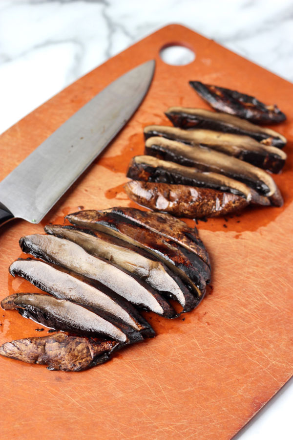 Sliced grilled portobellos