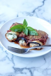 Eggplant Rollatini on White Plate