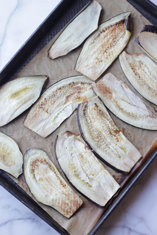 Eggplant slices on sheet pan