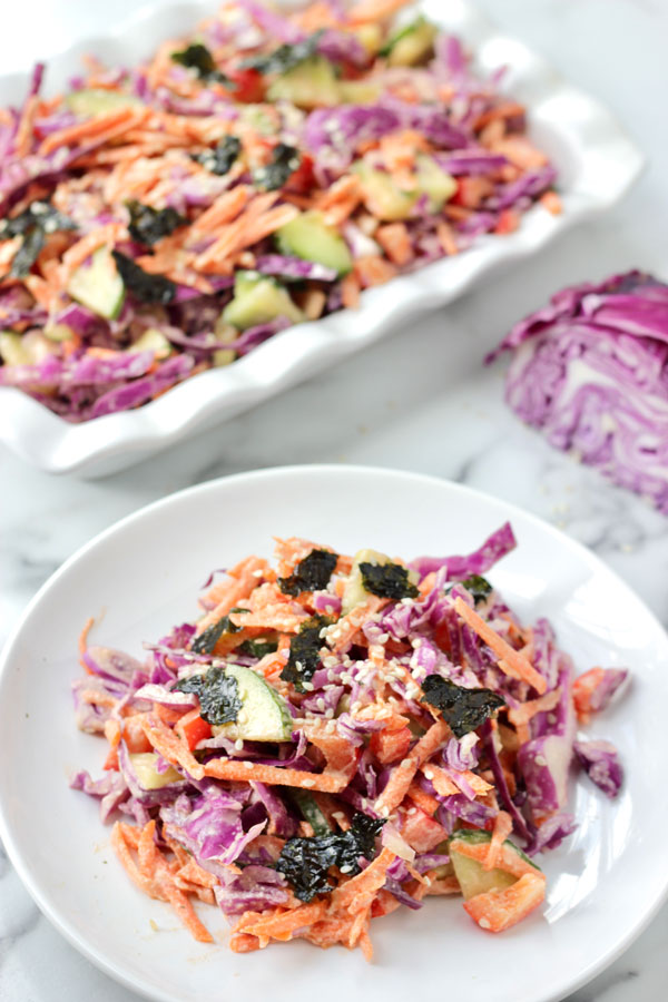 Vegan Asian slaw with creamy ginger dressing