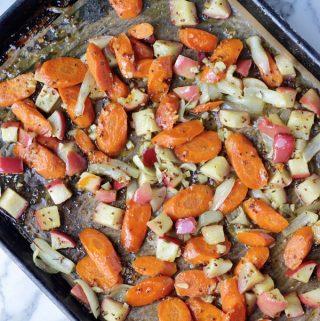 Carrots & Apples on sheet pan