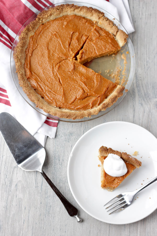 Sweet potato pie on counter
