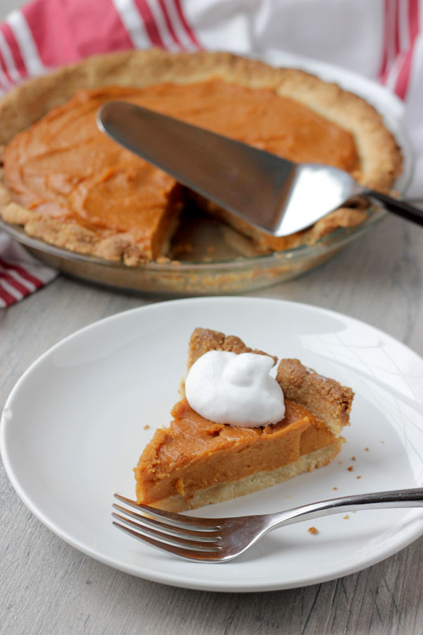 Vegan Sweet Potato Pie on white plate