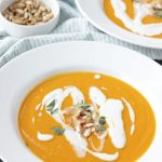 Butternut squash soup in white bowl