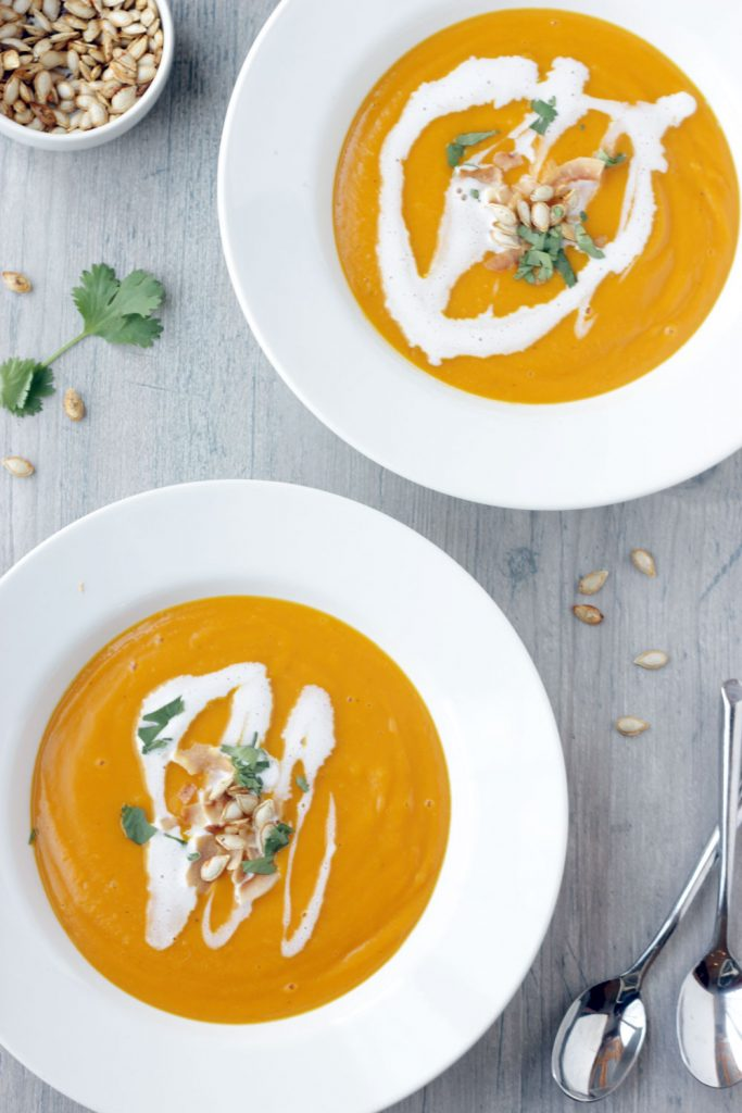 2 bowls of Butternut squash soup