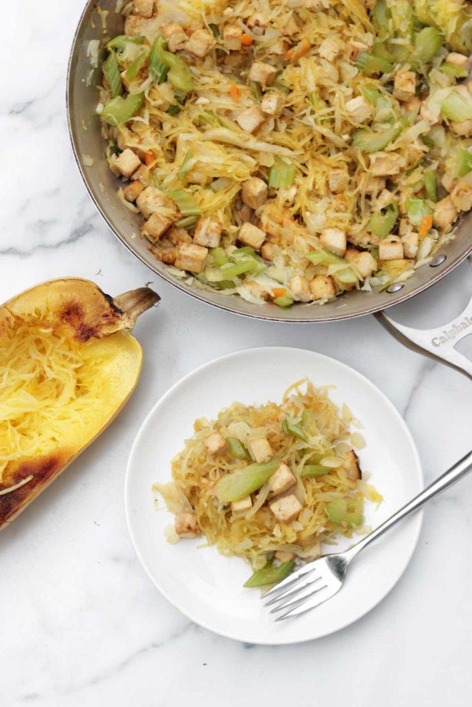Vegan tofu chow mein with spaghetti squash