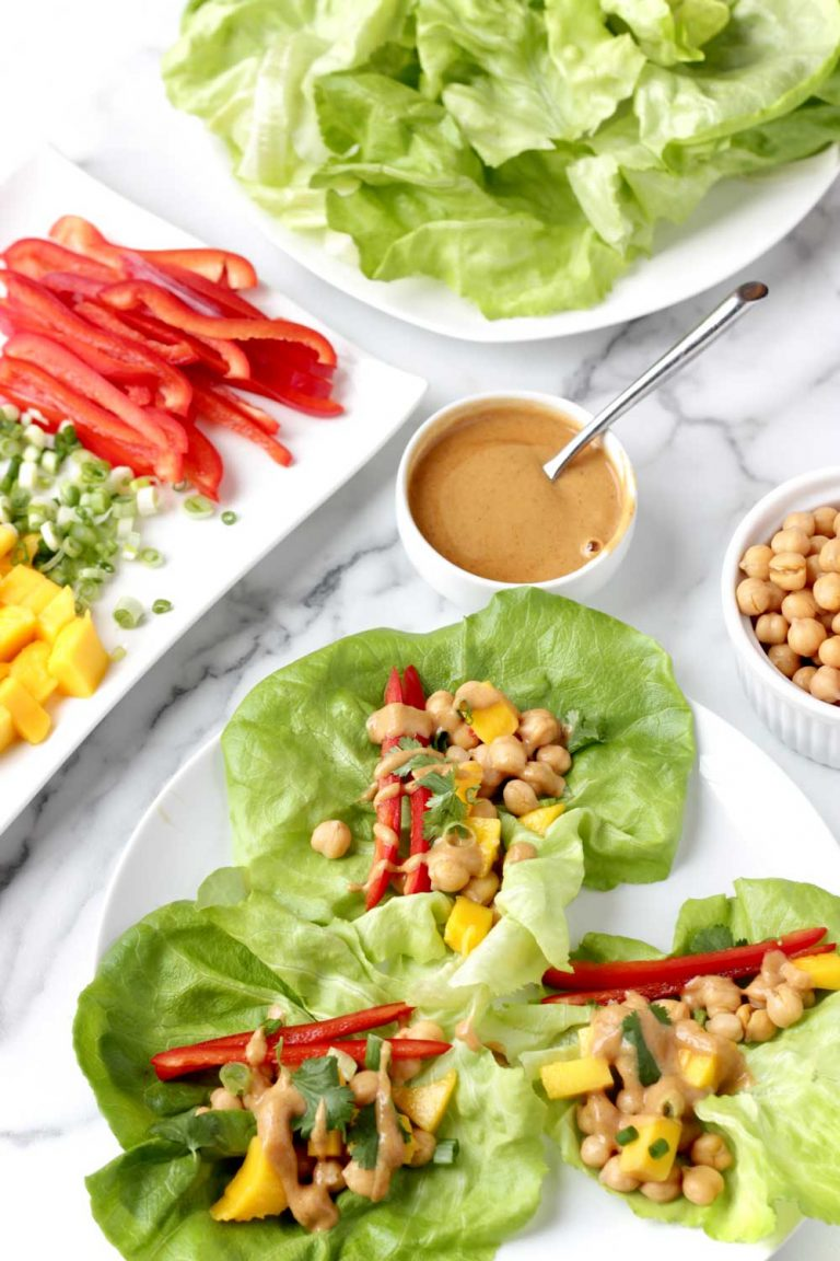 Chickpea Lettuce Wraps with Peanut Sauce