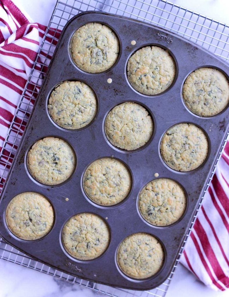 Savory Mushroom Spinach Muffin on cooling rack