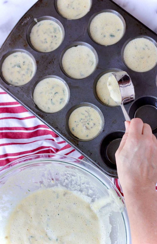 Muffin tin with batter