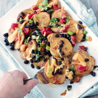 Potato Nachos on White Serving Platter