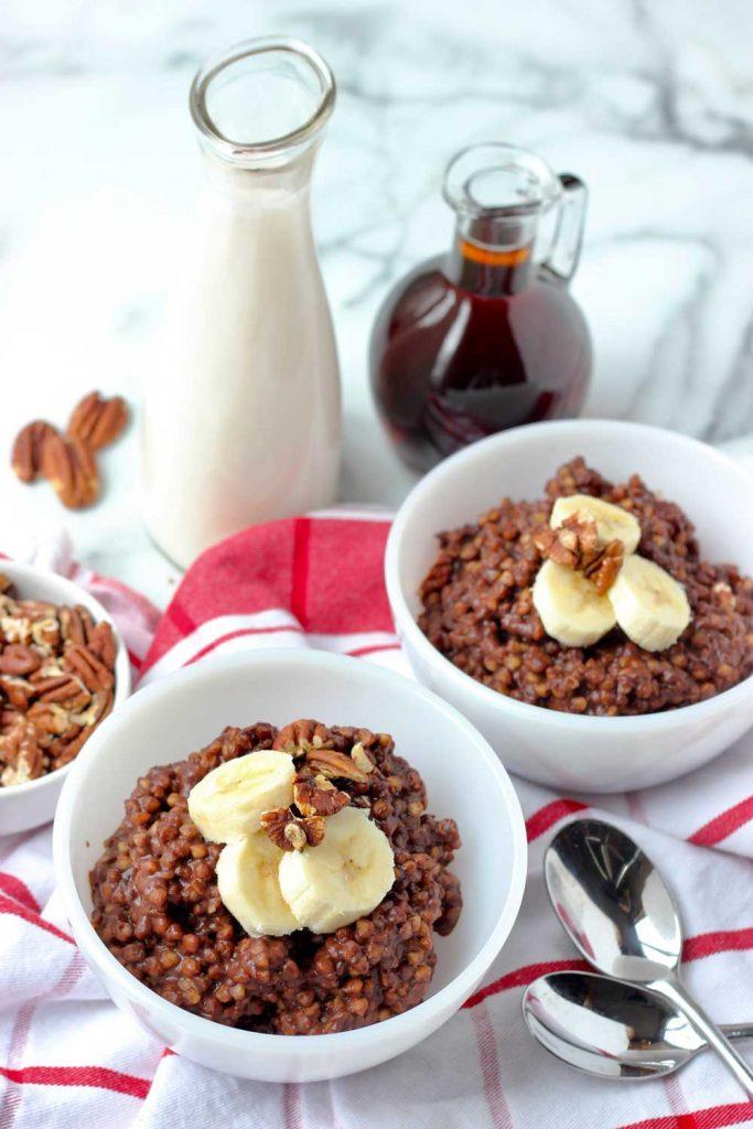 Chocolate buckwheat porridge with banana and pecans