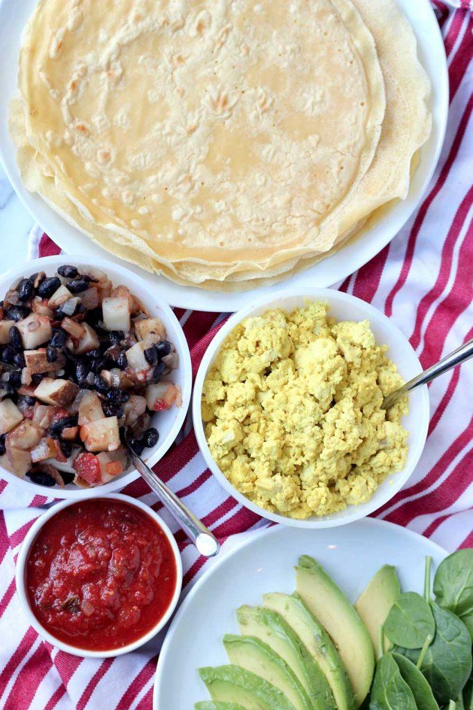 Vegan Breakfast Burrito fixings