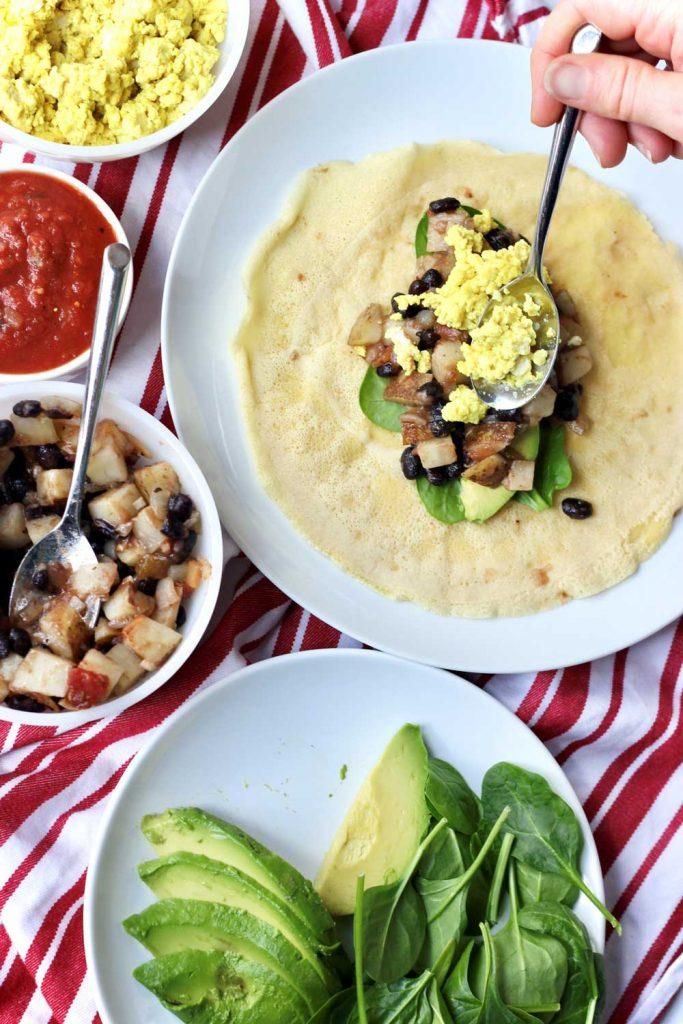 Vegan Breakfast Burrito assembly