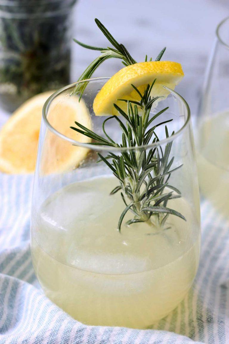 Rosemary Ginger Lemonade with garnish